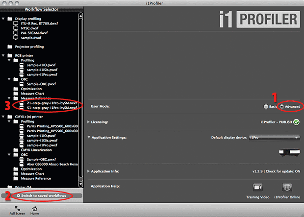 grayscale workflow files in i1Profiler