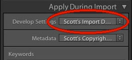 Selecting Import Preset on Import