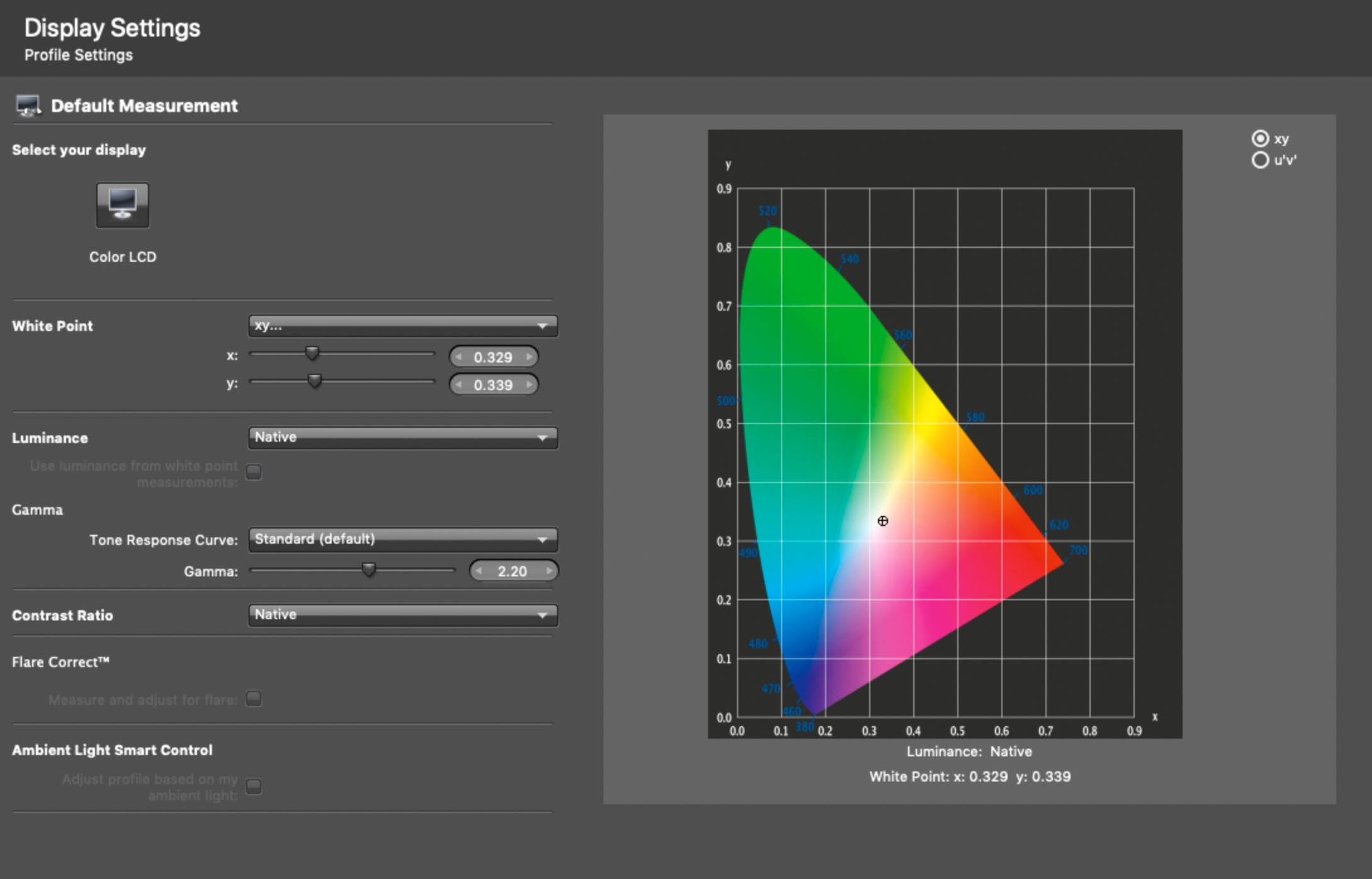 i1Profiler's display calibration with xy White Point setting selected